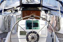 Close up detail of sailing yacht Royalty Free Stock Photo