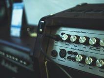 Close up detail of sound volume controls stock photos
