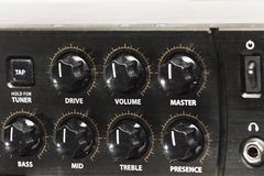 Close-up detail of sound volume controls in vintage style. Close-up detail of sound volume controls in vintage style royalty free stock photography