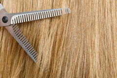 Close up detail. Special scissors cutting hair. Royalty Free Stock Image
