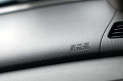 Close up detail of SRS Airbag inside a car. Dashboard Royalty Free Stock Images