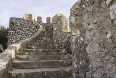 Close up detail of the stairway of Sintra Moorish Castle Stock Photo