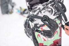 Close up detail of the straps on a snowboard Stock Images