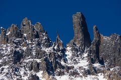 Close up detail of the top of Cerro Castillo in Carretera austral in chile - Patagoni stock image