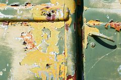 Close-up detail view of an antique wrecked military car royalty free stock photography