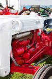 Close Up Detail of Vintage Red and White Tractor Stock Photos