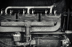 Close Up Detail of a Vintage Tractor Engine Royalty Free Stock Photos