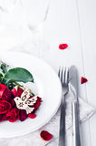 Close up of detail on wedding breakfast dining table setting with dove Stock Image