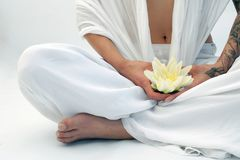 Woman In Lotus Flower Yoga Meditation  stock images