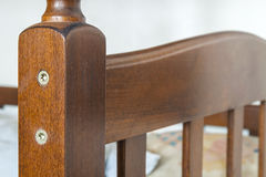 Close-up detail of wooden textured furniture Royalty Free Stock Images