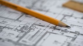 Close-up of detailed building plan, architecture design, construction bureau. Stock photo royalty free stock photography