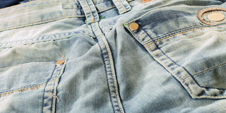 Close up detailed light jeans Royalty Free Stock Image