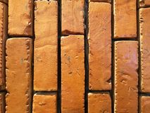 Close up detailed new red brick wall background royalty free stock photography