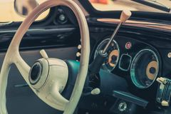 Close-up, detailed photo of the interior, dashboard and speedome Royalty Free Stock Photo