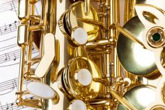 Close-up detailed view of alto saxophone keys Royalty Free Stock Image