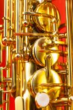 Close-up detailed view of alto saxophone keys Stock Images