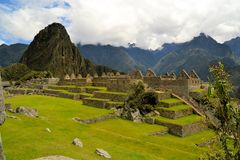 Close up detailed view of Machu Picchu, lost Inca Stock Images