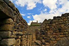 Close up detailed view of Machu Picchu, lost Inca Stock Photo