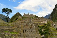 Close up detailed view of Machu Picchu, lost Inca Royalty Free Stock Photos