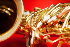Close-up detailed view of saxophone with bell stock photo