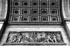Close up details of the Arc de Triomph. Close up details of the base of the Arc de Triomphe in Paris Stock Photo