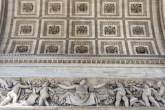 Close up details the Arc de Triomphe in Paris Stock Photo