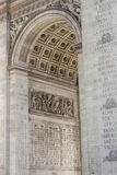 Close up details the Arc de Triomphe in Paris Royalty Free Stock Photography