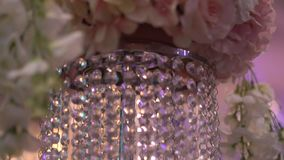 Close up details of banquet of flowers on a wedding banquet stock footage