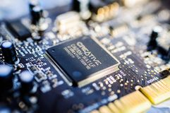 Creative Labs Sound Blaster Board Close Details. Close up details of Creative Labs Sound Blaster board with soft focus background and shallow depth of field Stock Photo