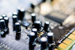 Creative Labs Sound Blaster Board Close Details. Close up details of Creative Labs Sound Blaster board with soft focus background and shallow depth of field Royalty Free Stock Photography