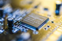 Creative Labs Sound Blaster Board Close Details. Close up details of Creative Labs Sound Blaster board with soft focus background and shallow depth of field Royalty Free Stock Photos