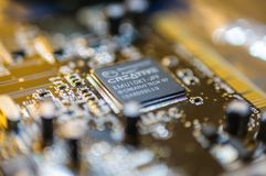 Creative Labs Sound Blaster Board Close Details. Close up details of Creative Labs Sound Blaster board with soft focus background and shallow depth of field Royalty Free Stock Images