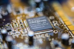 Creative Labs Sound Blaster Board Close Details. Close up details of Creative Labs Sound Blaster board with soft focus background and shallow depth of field Stock Images