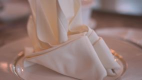 Close up details of dining cutlery on a wedding banquet stock footage