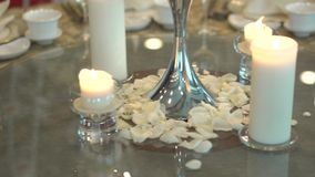 Close up details of dining cutlery on a wedding banquet stock video footage