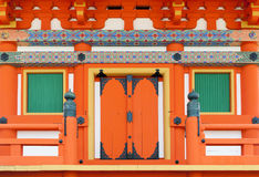 Close up details of Japanese architecture on door and windows at a building in Shinto temple, Kyoto, Japan Stock Images