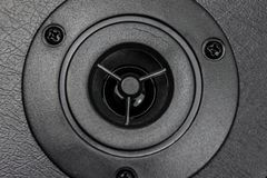 Close up details of loudspeaker woofer. And tweeter driver royalty free stock images
