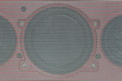 Close up details of loudspeaker woofer driver. Abstract background Details audio equipment stock photos