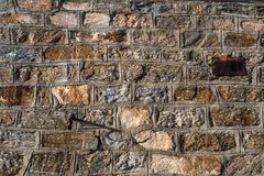 Close-up details of natural rock wall in mountain refuge stock photo