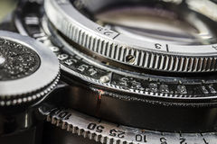 Close-up Details Of An Old Silver Metallic Lens Camera Royalty Free Stock Image