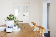 Close up details of scandi styled decor in contemporary dining r Stock Photography