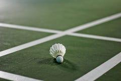 Close up detalhado de um shuttlecock do badminton Foto de Stock Royalty Free