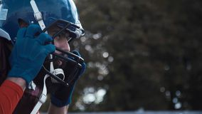 Close-up of a determined American football player Royalty Free Stock Photos