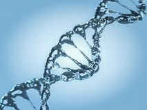 Close up of a diagonal DNA Chain of water. 3D Stock Photo