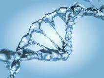Close up of a diagonal DNA Chain of water. 3D Royalty Free Stock Image