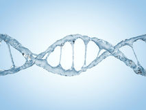 Close up of a diagonal DNA Chain of water. 3D Stock Image