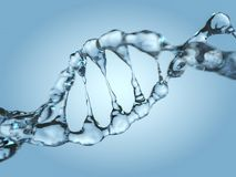 Close up of a diagonal DNA Chain of water. 3D Stock Images