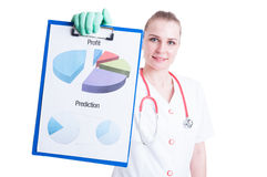 Close-up diagram in cheerful woman doctor hand Stock Image