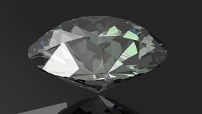 Close up of a diamond on a black background. 3d Stock Photo