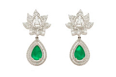 Close up of diamond earrings Royalty Free Stock Images